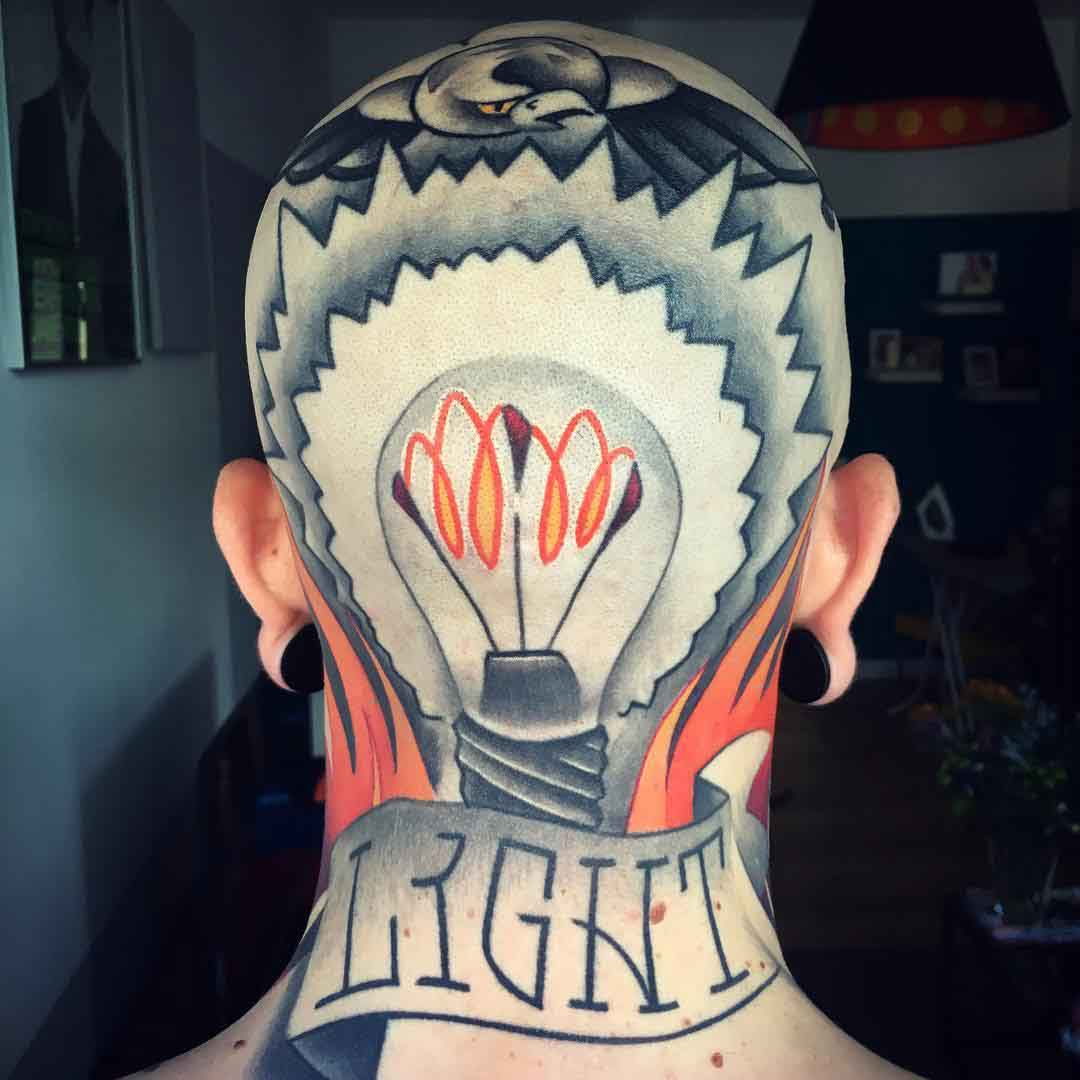 back head tattoo lightbulb traditional
