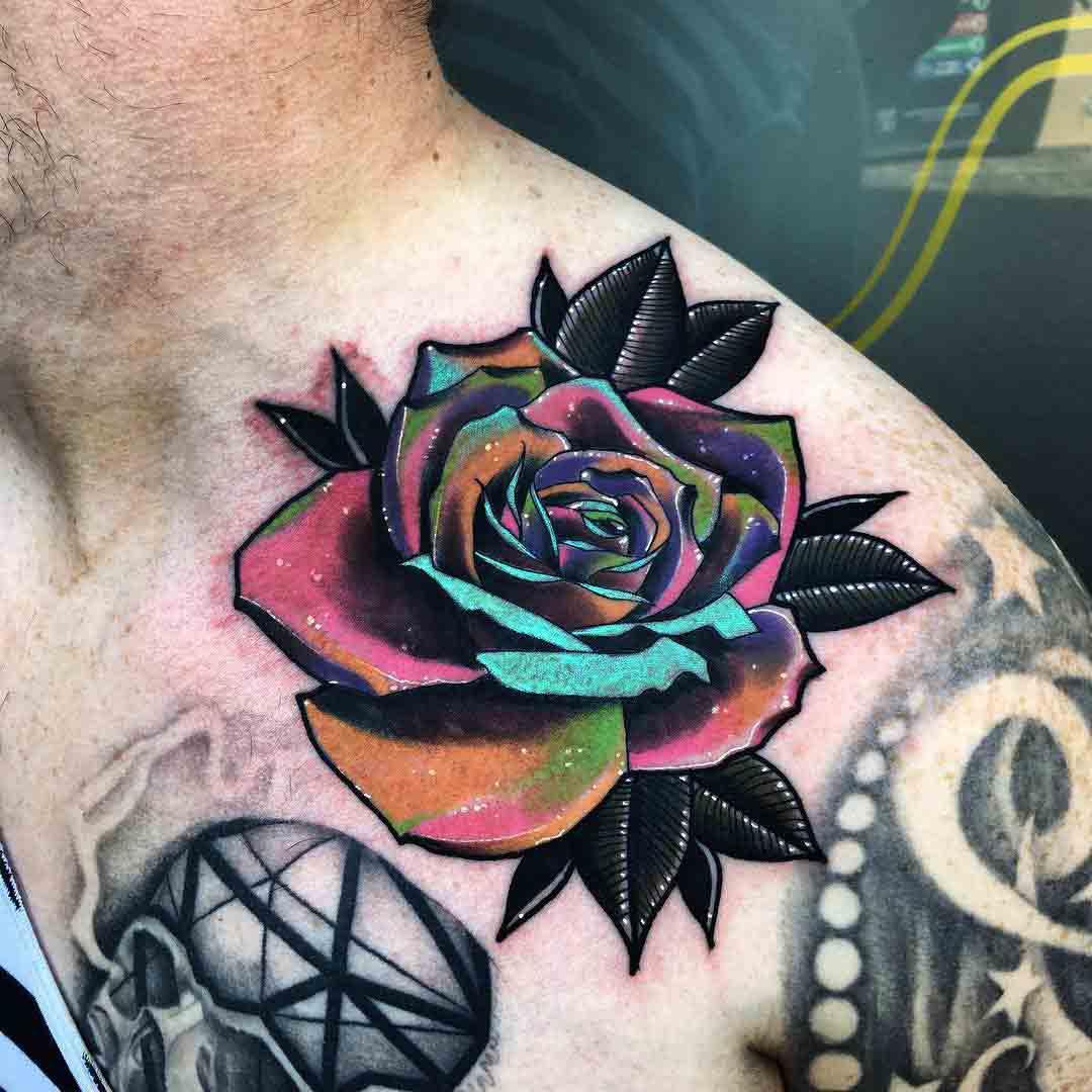 space petals rose tattoo collar bone