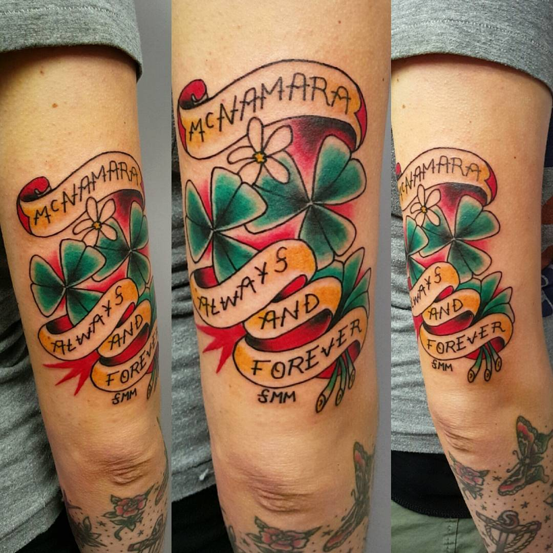 Traditional Clover Tricep Tattoo by krissydiane_tattoos