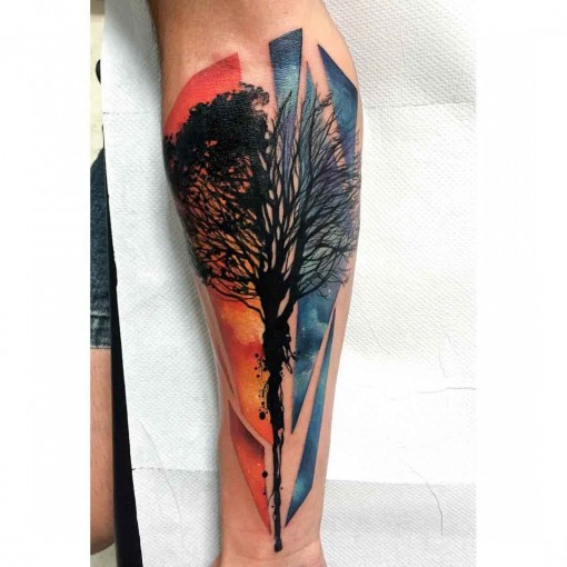 red and blue tree silhouette tattoo