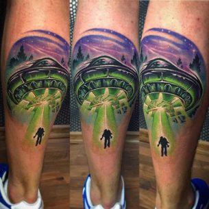 UFO Tattoo on Calf