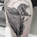 harp unicorn tattoo