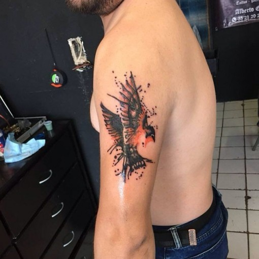 Watercolor Bird Tattoo Tricep by eddie_champ