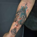 forearm clock tattoo watercolor