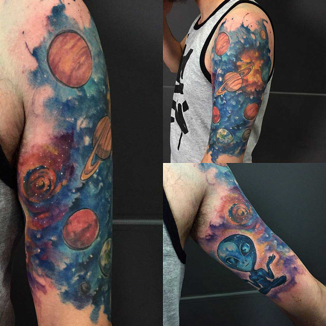 shoulder spacew tattoo watercolor