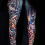 Wolf Sleeve Tattoo Realistic