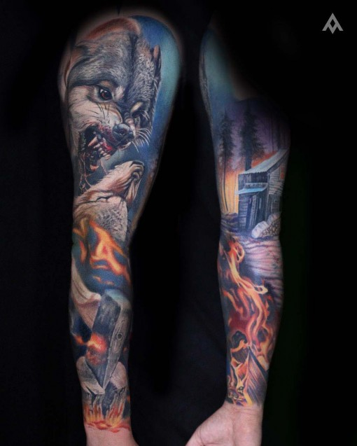 realistic wolves sleeve tattoo