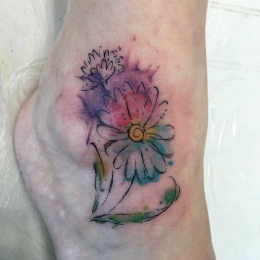 Ankle Tattoo Flowers by beastabola