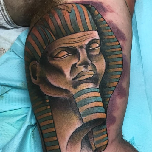 Pharaoh Head Tattoo by chrisautry_tattooer