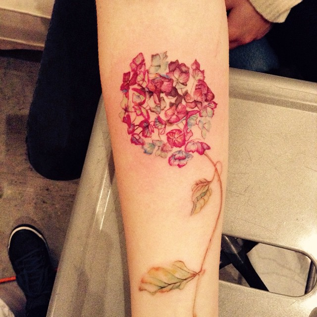 Red Hydrangea Tattoo by Emma Grace
