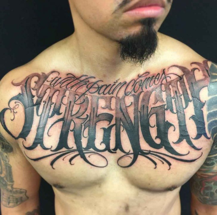 chest tattoo lettering