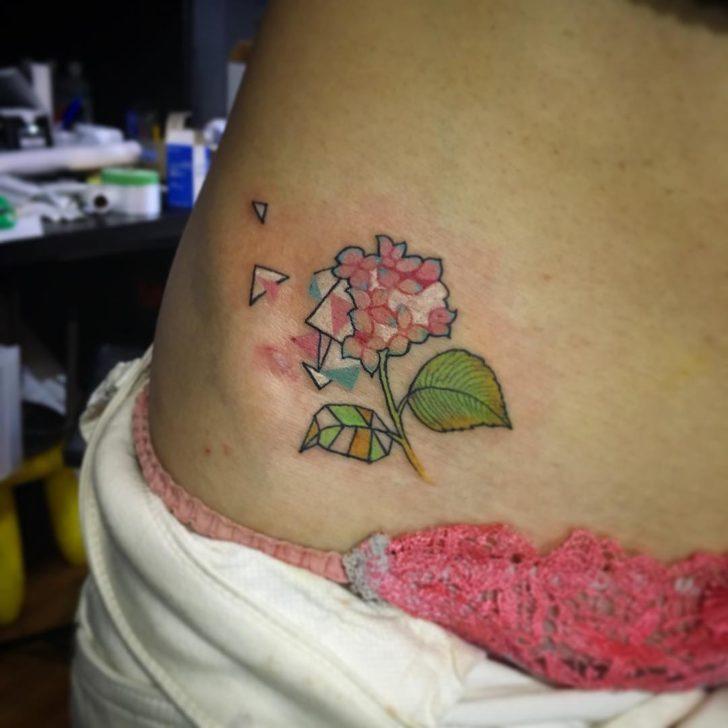 geometry hydrangea tattoo by IKUKO tattoo
