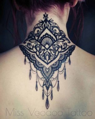 Back of Neck Tattoo Baroque