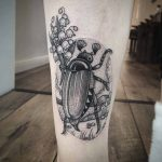 Beetle Tattoo With Flowers