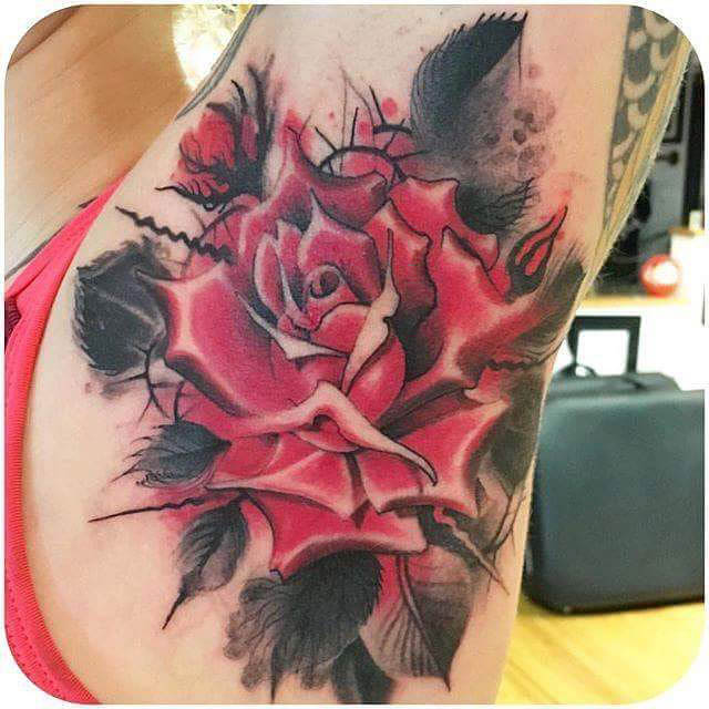 Big Rose Tattoo on Armpit
