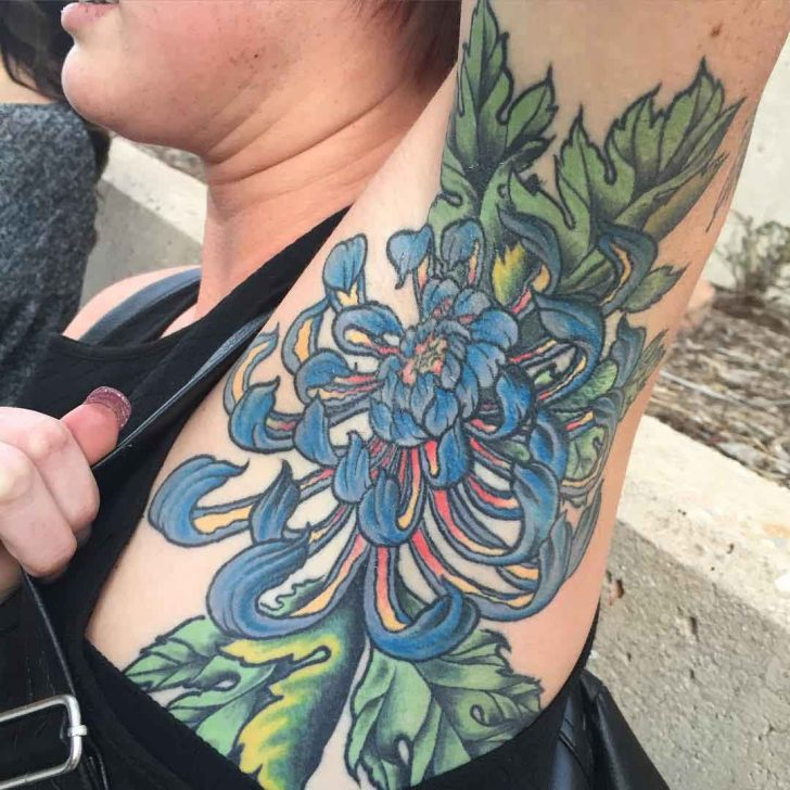 Blue Flower Tattoo on Armpit by jimiammo