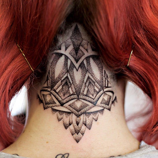 Dotwork Tattoo on Nape by rose_tattoo