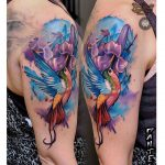 watercolor shoulder tattoo hummingbird