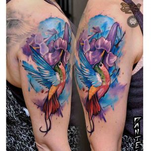 Hummingbird and Flower Tattoo on Shoulder