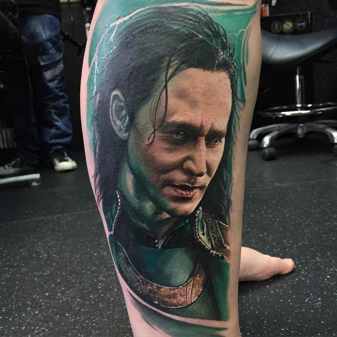Realistic Loki tattoo