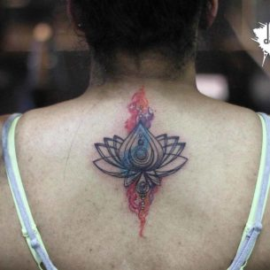 Lower Nape Lotus Tattoo