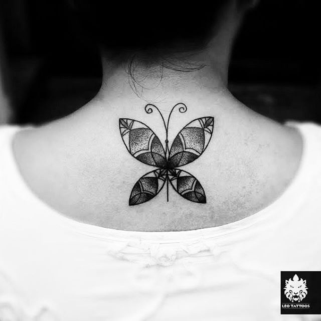 Lower Nape Tattoo Butterfly by mosesvalerius