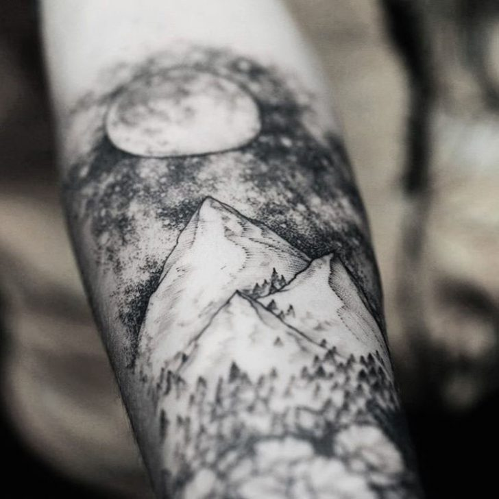 moon night tattoo mountains on arm