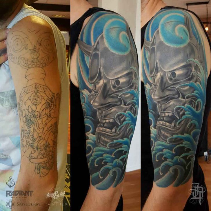 hannya mask tattoo cover up