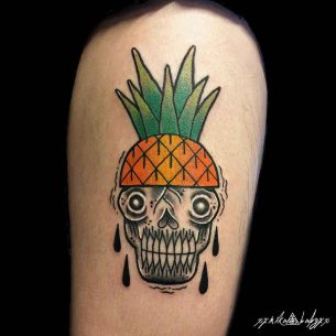 Pineapple Skull Tattoo