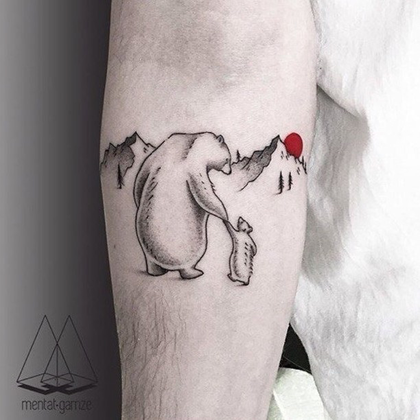 polar bears tattoo on arm