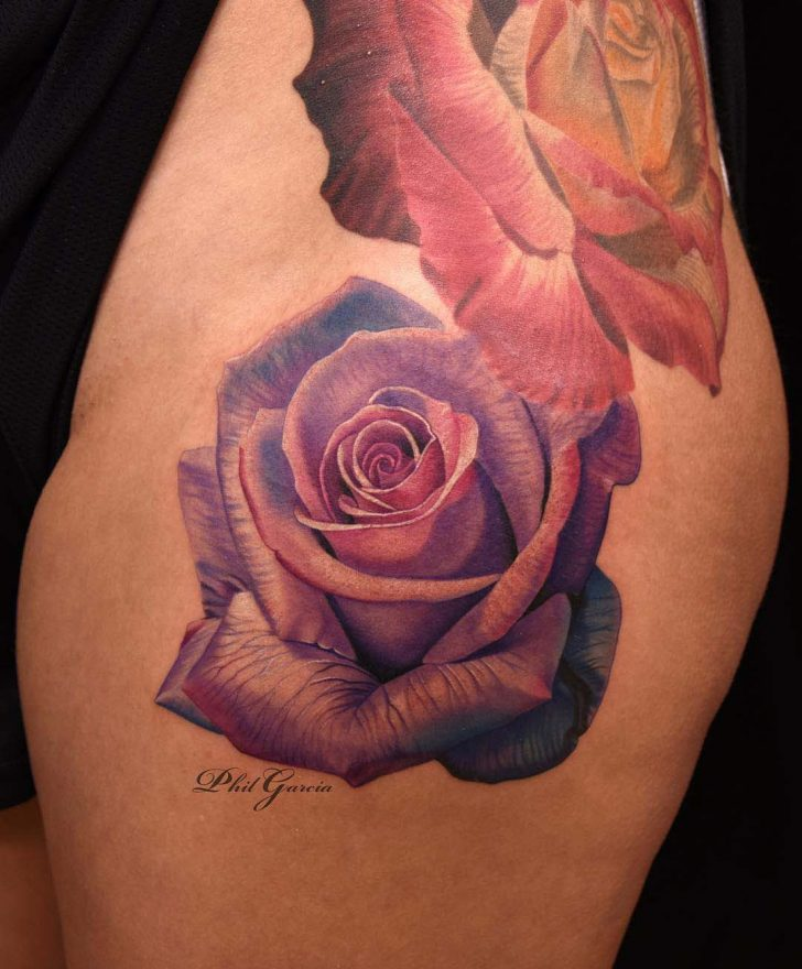 rose tattoo purple