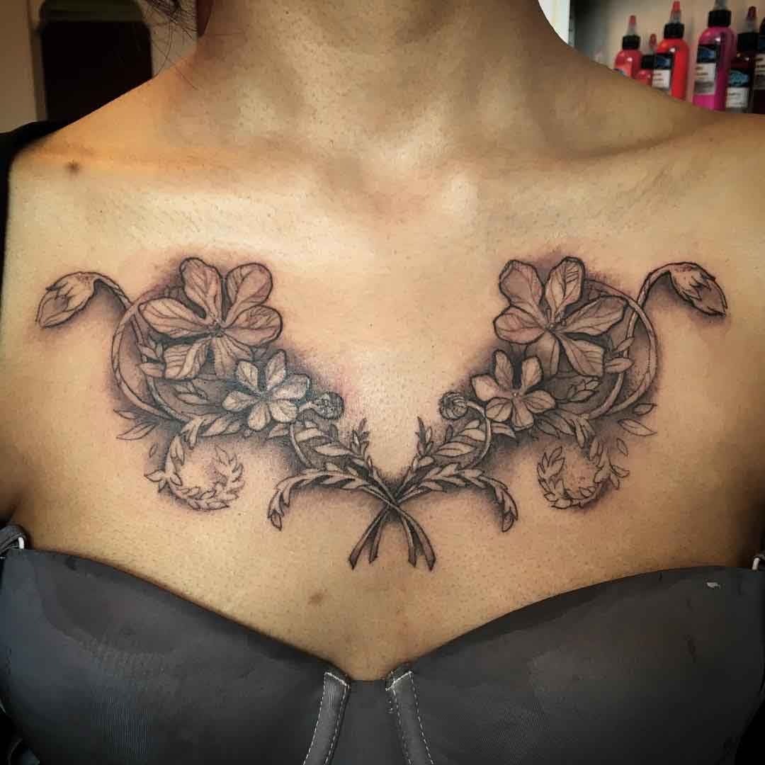 Scottish Flowers Tattoo on Chest by Claire Hamill