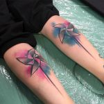 colorful calf tattoos