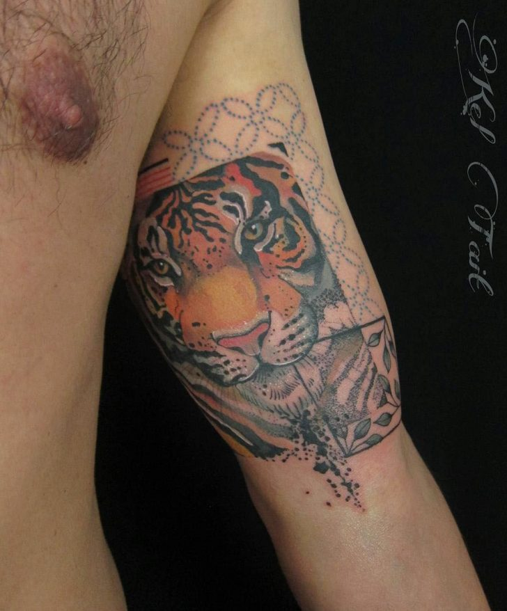 inner bicep tattoo tiger