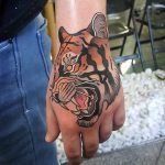 hand tattoo tiger