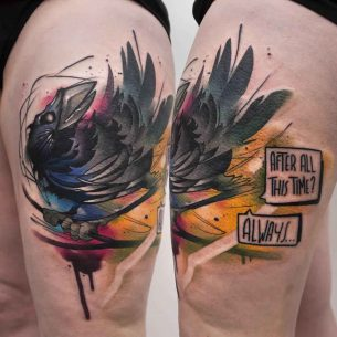 Watercolor Crow Tattoo