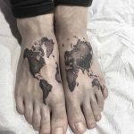 World Map Tattoo on Feet