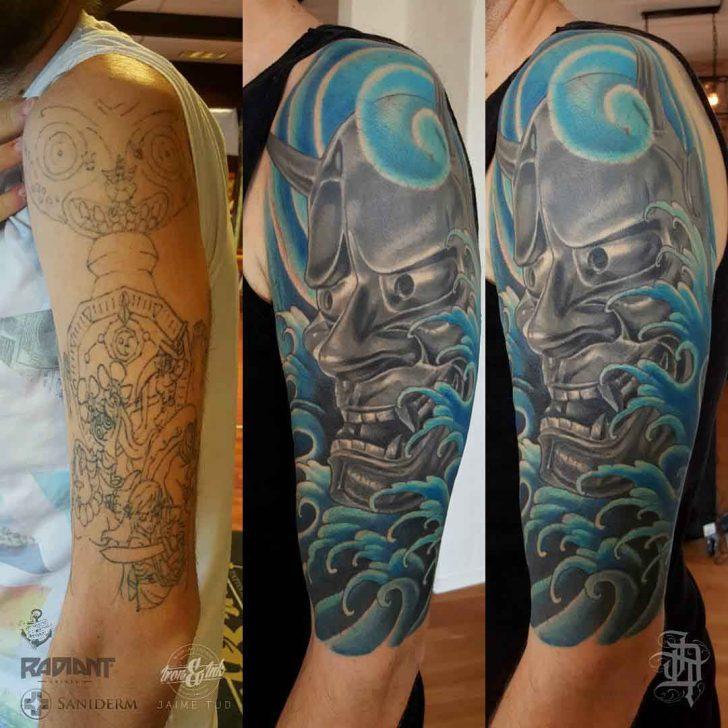 hannya mask tattoo cover up