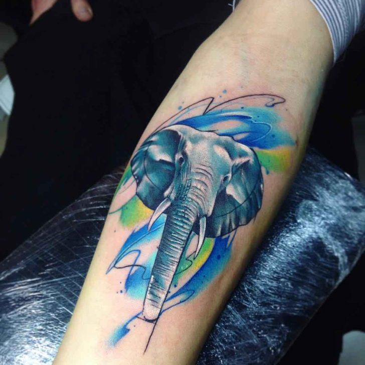 Watercolor Elephant Tattoo on arm