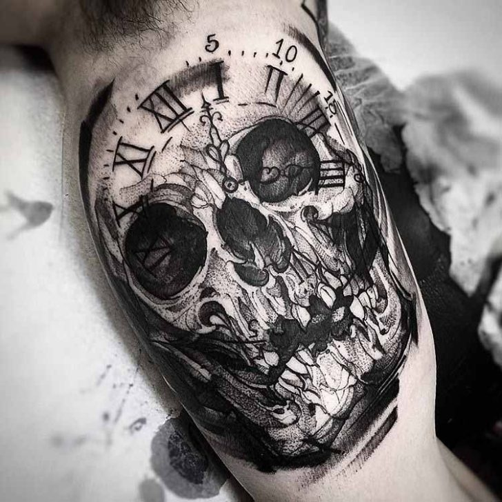 inner arm tattoo skull ckock