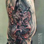 Evil Owl Side Tattoo