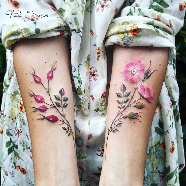arm tattoos of flowers