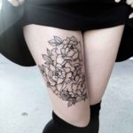 Cute Flowers on Thigh Tattoo