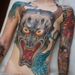 torso tattoo hannya mask