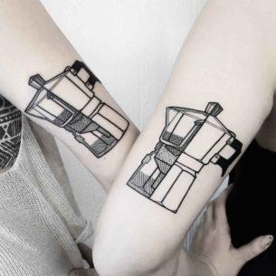 Moka Pot Couple Tattoos
