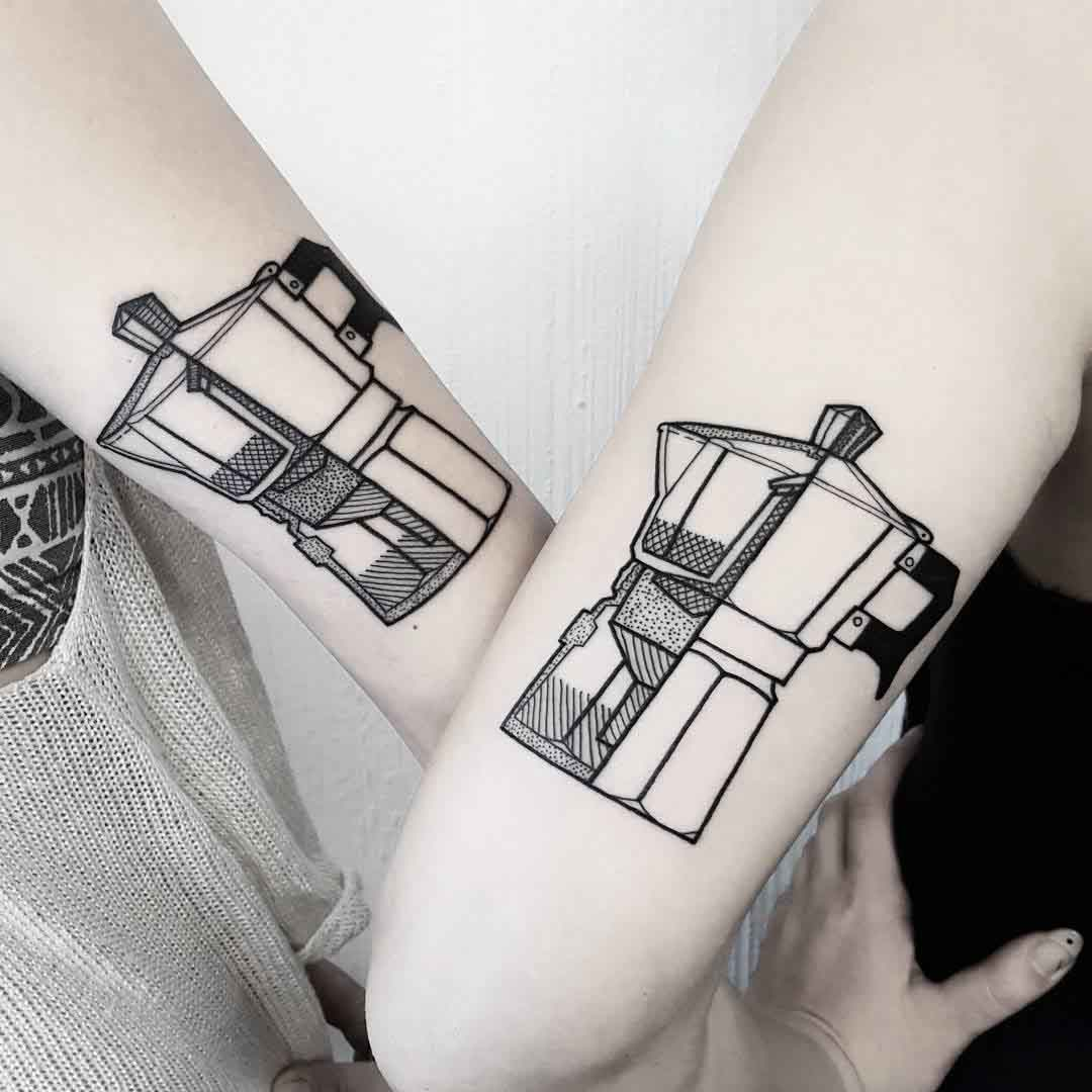 couple tattoo moka pot