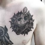 T-Rex Skull Tattoo on Chest