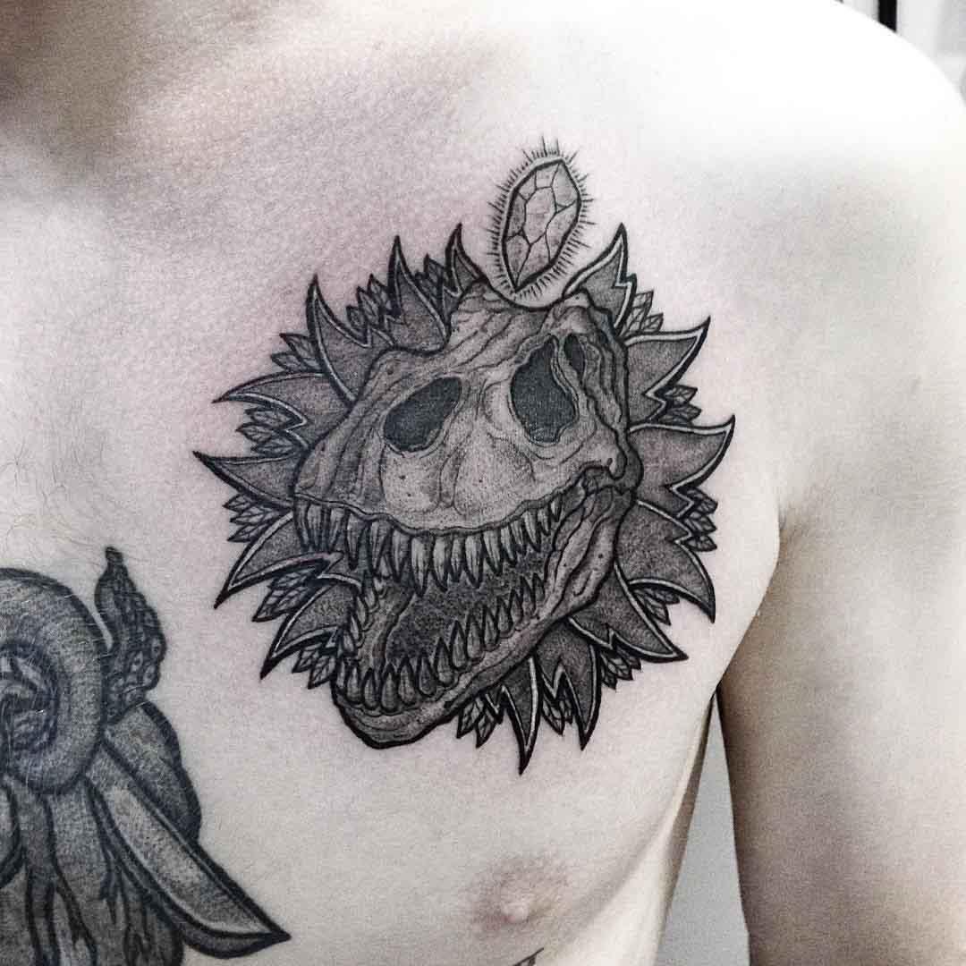 chesat tattoo skull t-rex