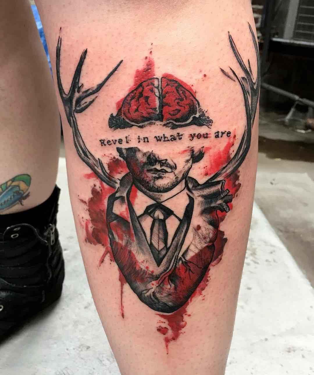 trash polka style tattoo watercolor