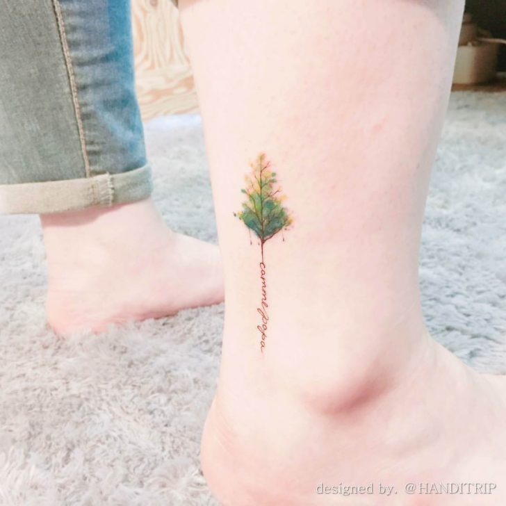 ankle tattoo treee illustration